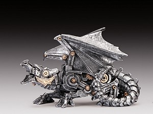2 STEAMPUNK DRAGON SILVER