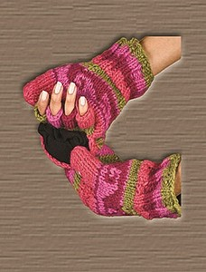 100% WOOL GLOVES WITH FINGER COVER ASST COLORS