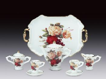 MINIATURE TEA SET - RED/YELLOW ROSE PATTERN