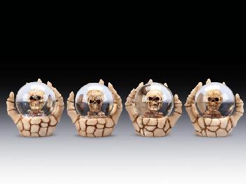 12 ASSORTED MINIATURES - SKULL IN DOME WITH SKELETON HAND