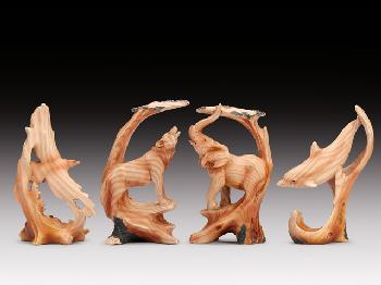 12 ASSORTED MINIATURES - WOOD LIKE ANIMALS