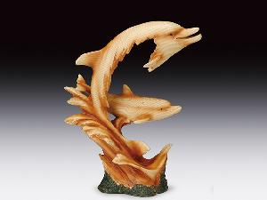 WOOD LIKE CARVING 2 DOLPHINS