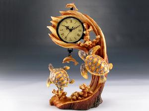 CLOCK SEA TURTLE WOOD LIKE