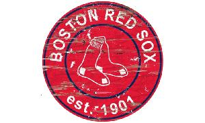 RED SOX LARGE ROUND TEAM HERITAGE LOGO WOODEN SIGN