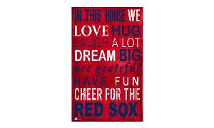 RED SOX IN THIS HOUSE WE.... WOODEN SIGN