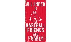 RED SOX BASEBALL FRIENDS & FAMILY WOODEN SIGN