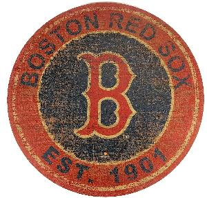 RED SOX LARGE ROUND TEAM LOGO WOODEN SIGN